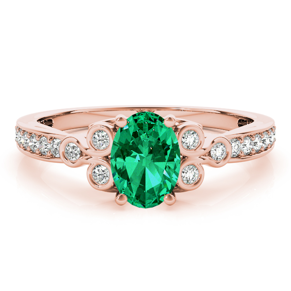 Oval Green Emerald Trinity Ring Rose Gold