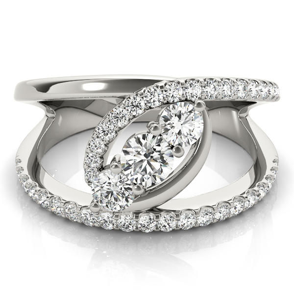 3 Stone Swirl Split Band Diamond Ring