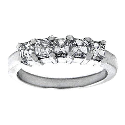 Five Stone Asscher Diamonds Wedding Band F-G VS 0.75 tcw.