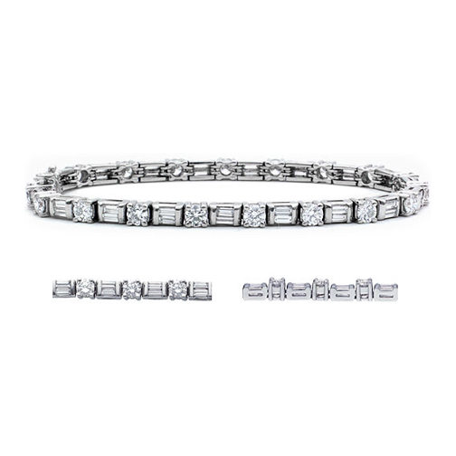 5.5 Carat Round and Baguette Cut Diamond Bracelet H VS