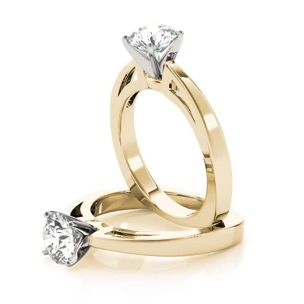 Classic Cathedral Solitaire Engagement Ring in Yellow Gold with Square Band