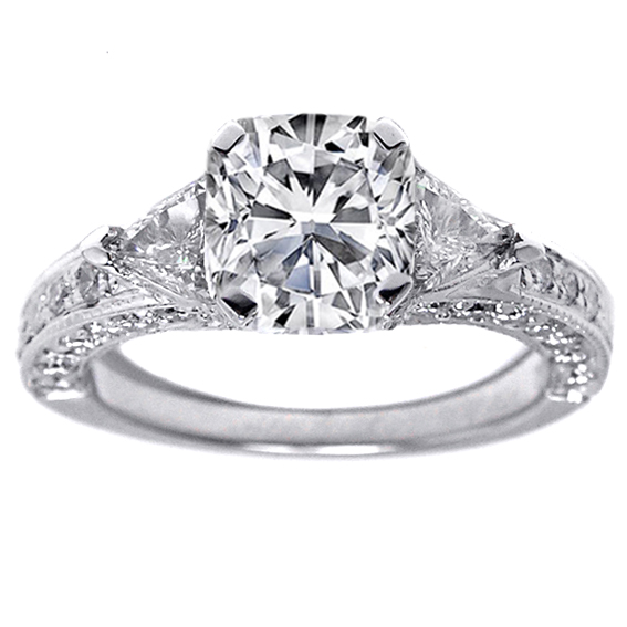 Cushion Diamond Vintage Pave Engagement Ring trillion accents In 14K White Gold