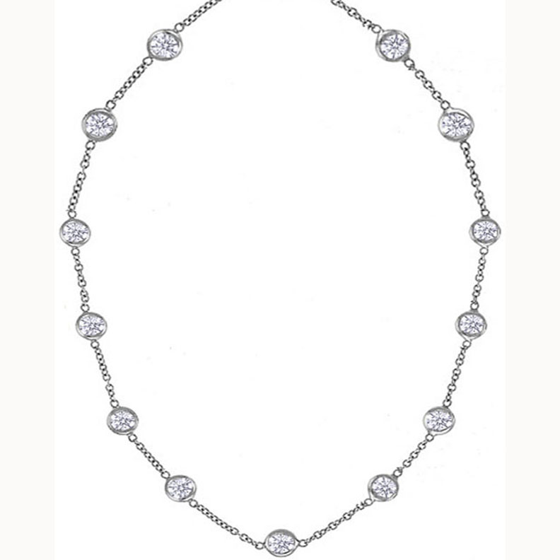 Thirteen Diamonds By the Yard Necklace 6.50 tcw.