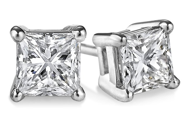Princess Cut Diamond Stud Earrings 0.70 tcw. In 14 Karat White Gold