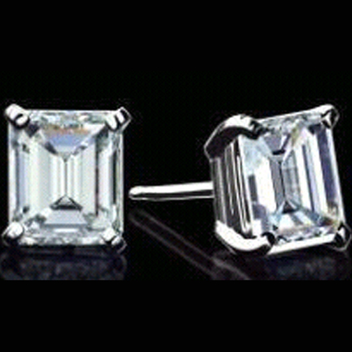 1.67 tcw. One Of A Kind Emerald Diamond Stud Earrings in White Gold H VVS GIA