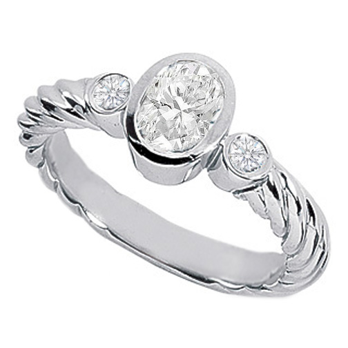 Three Stone Oval & Round Diamond Bezel Rope Engagement Ring 0.58 Carat tw in 14K White Gold