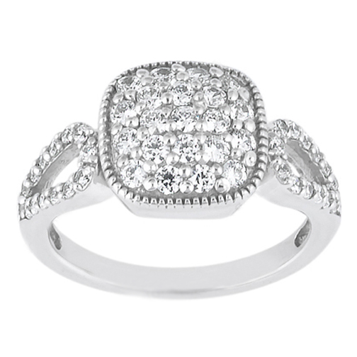 0.59 Carat Round Diamond Vintage Style Split Band Ring