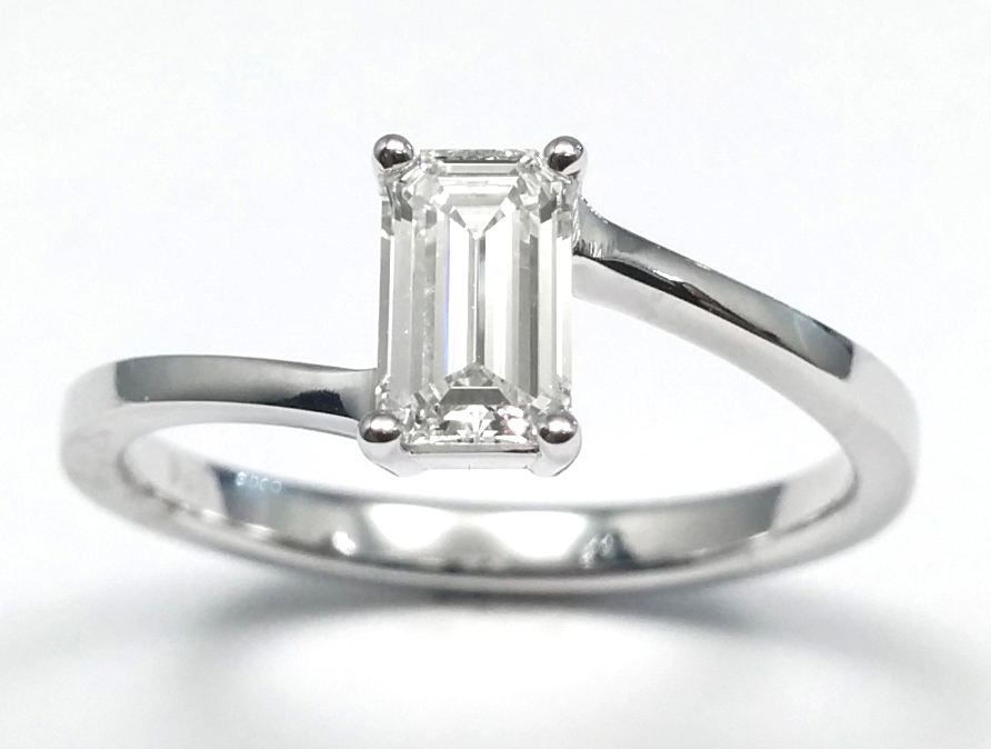 Solitaire Emerald Cut Swirl Engagement Ring 1/2 carat