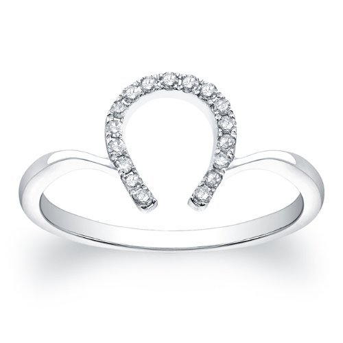 Petite Horseshoe Ring 0.17 Carat in 14K White Gold