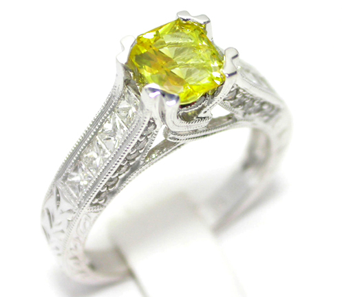 Radiant Yellow Sapphire White Gold Ring
