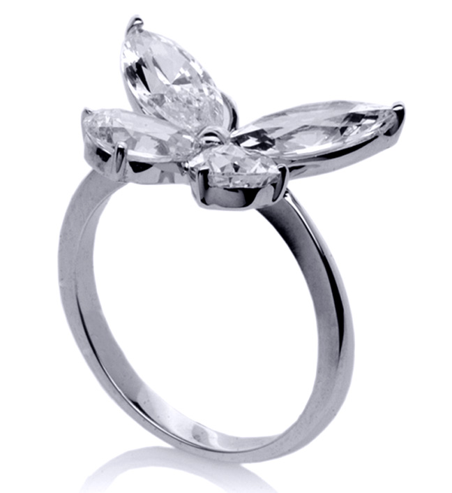 Mixed Cut Butterfly Diamond Ring  1 carat total weight