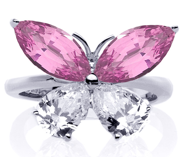 Mixed Cut Butterfly Diamond & Pink Sapphire Ring