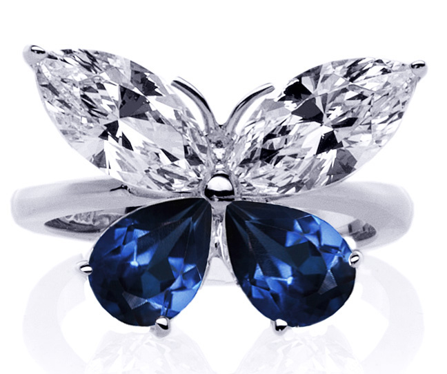 Mixed Cut Butterfly Diamond & Blue Sapphire Ring 1 Carat TW. In 14K White Gold