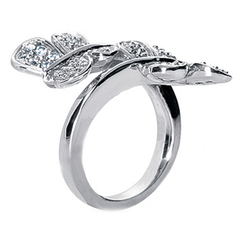 Duo Butterflies Diamond Ring in Spiral Band