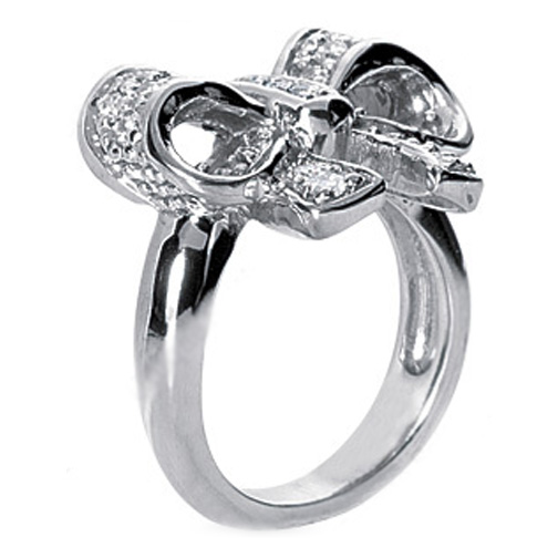 Diamond Bow Ring in 14 Karat White Gold