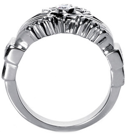Men's Claddagh Round and Baguette Diamond Ring