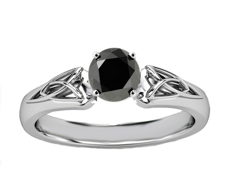 Black Diamond Triquetra Celtic Engagement Ring in 14K White Gold