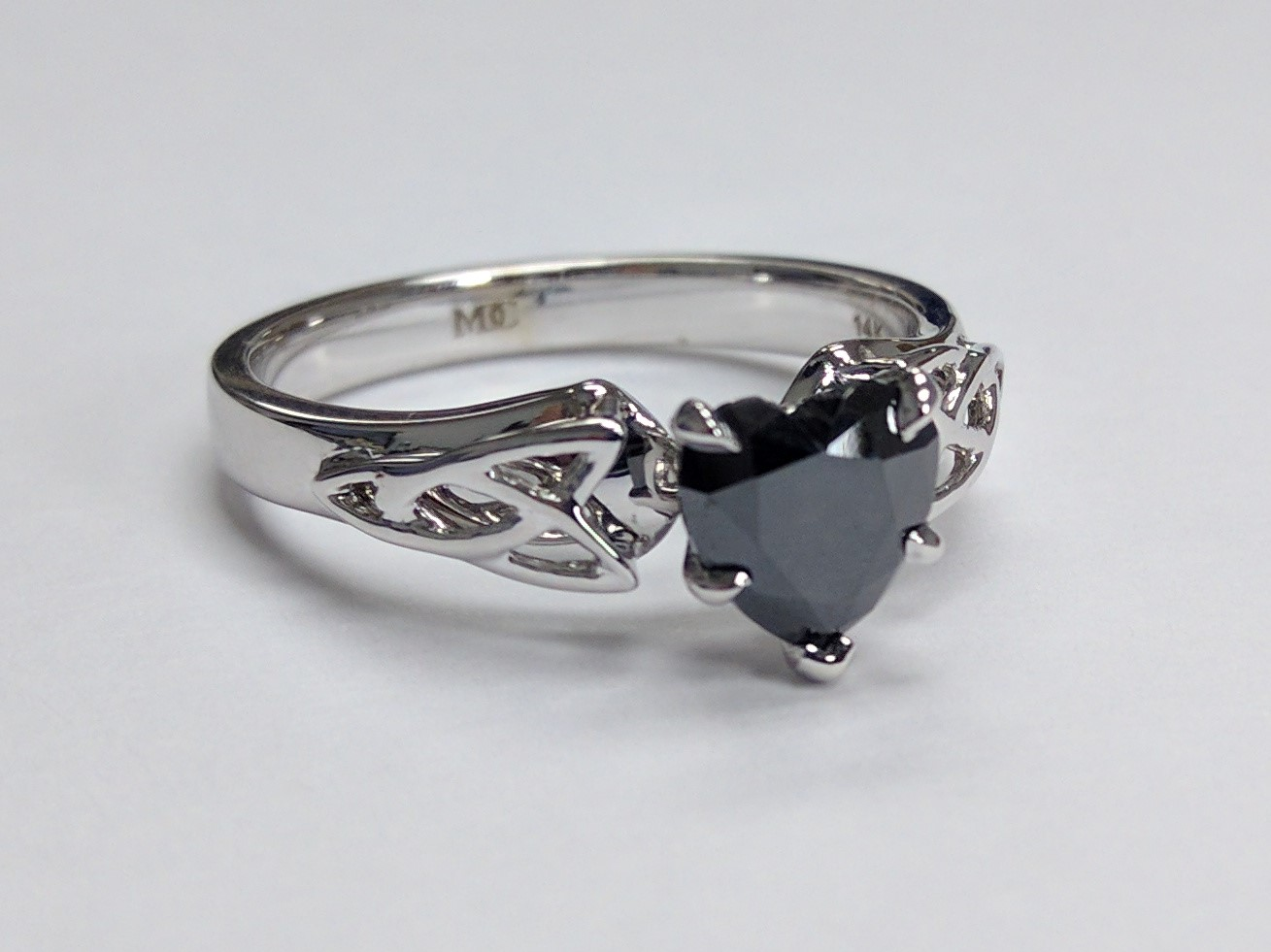 Black Heart Diamond Triquetra Celtic Engagement Ring in 14K White Gold