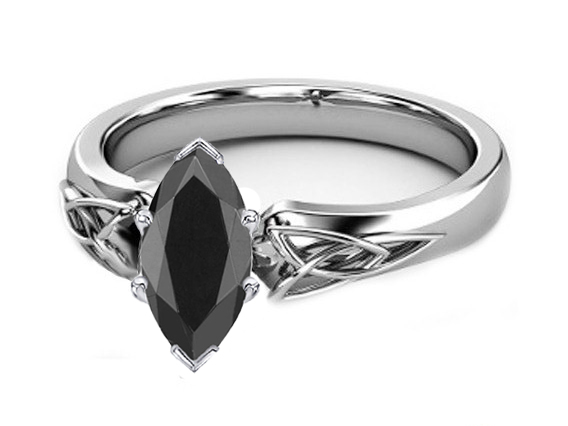 Black Marquise Diamond Triquetra Celtic Engagement Ring in 14K White Gold