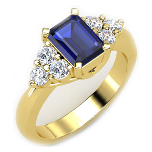 Emerald Cut Blue Sapphire and Round Diamond Ring in Yellow Gold