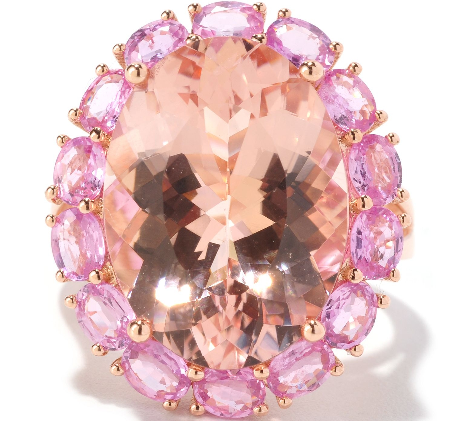 Large Oval Morganite Pink Sapphire Halo 14K Rose Gold Ring