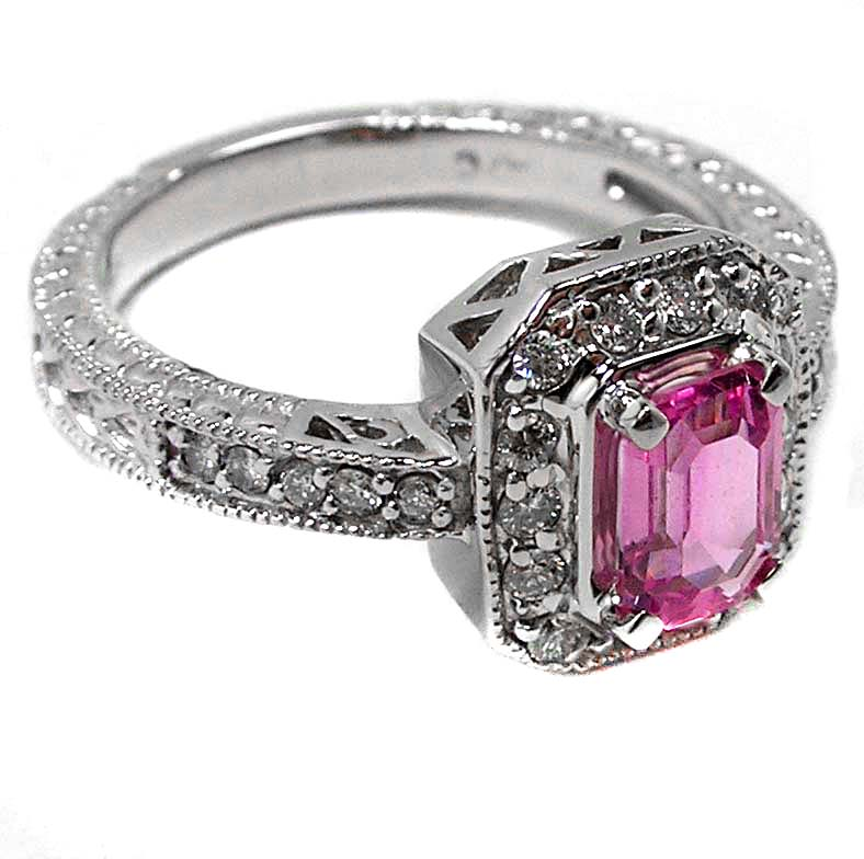 Emerald cut Pink Sapphire Engagement-Promise Ring with Round Diamonds In white gold