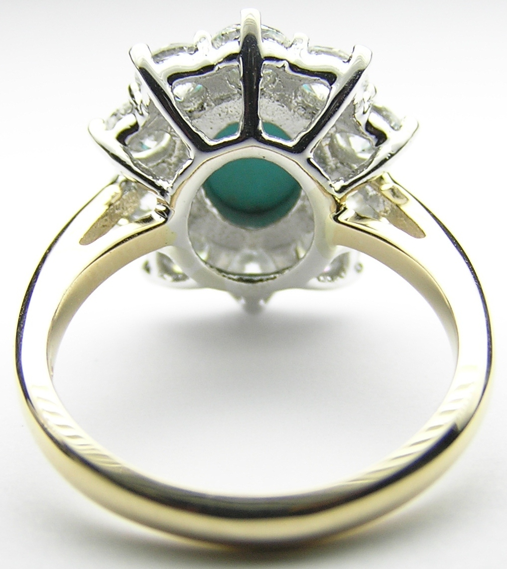Oval Turquoise Flower Diamond Halo Ring in 14K Yellow Gold