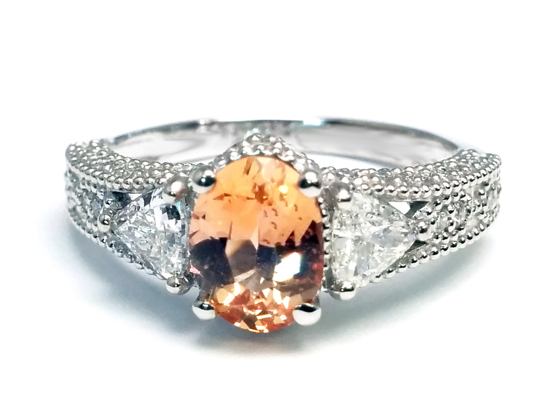 Oval Peach Sapphire and Trillion Diamond Ring