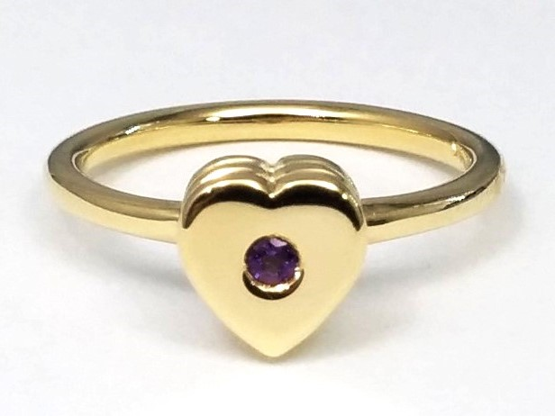 Layered Heart Shaped Ring with Amethyst Center in Yellow Gold