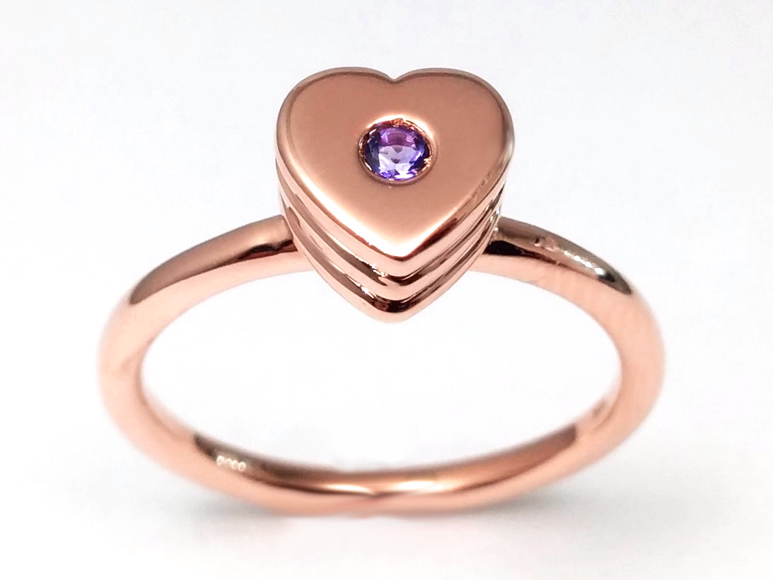 Layered Heart Shaped Ring with Amethyst Center in Rose Gold