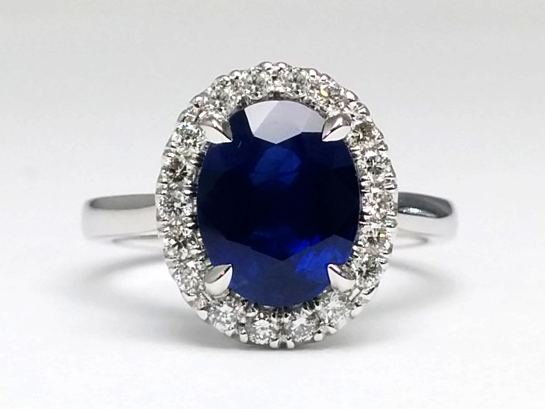 Oval Halo Blue Sapphire in 14k White Gold