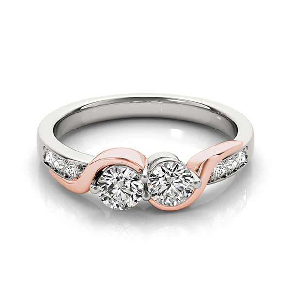Duo Two-Tone Diamond Engagement or Promise Ring with Pave Accents 0.62tcw