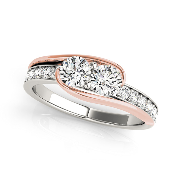 Duo Two-Tone Diamond Engagement or Promise Ring with Pave Accents 0.80tcw