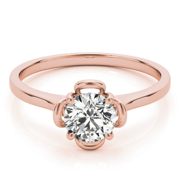 Solitaire Flower Promise Ring in Rose Gold 0.33 Carat.