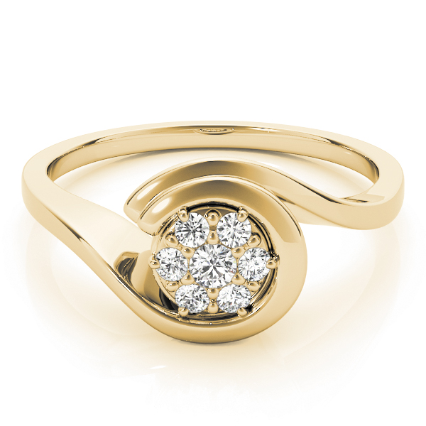 Round Swirl Cluster Diamond Promise Ring in Yellow Gold 0.21 tcw.