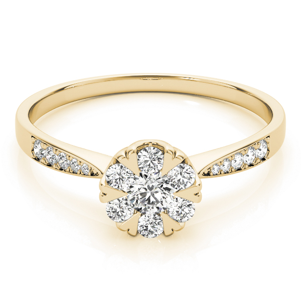 Diamond Cluster Halo Ring with Heart Prongs in Yellow Gold