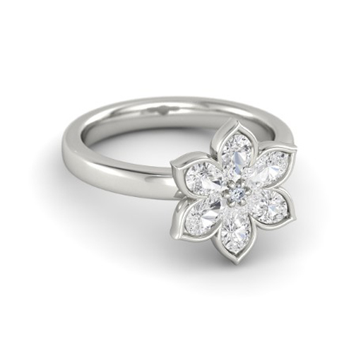 Pear Shaped Diamond Flower Petite Ring