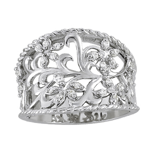 Floral Filigree Wide Diamond Band