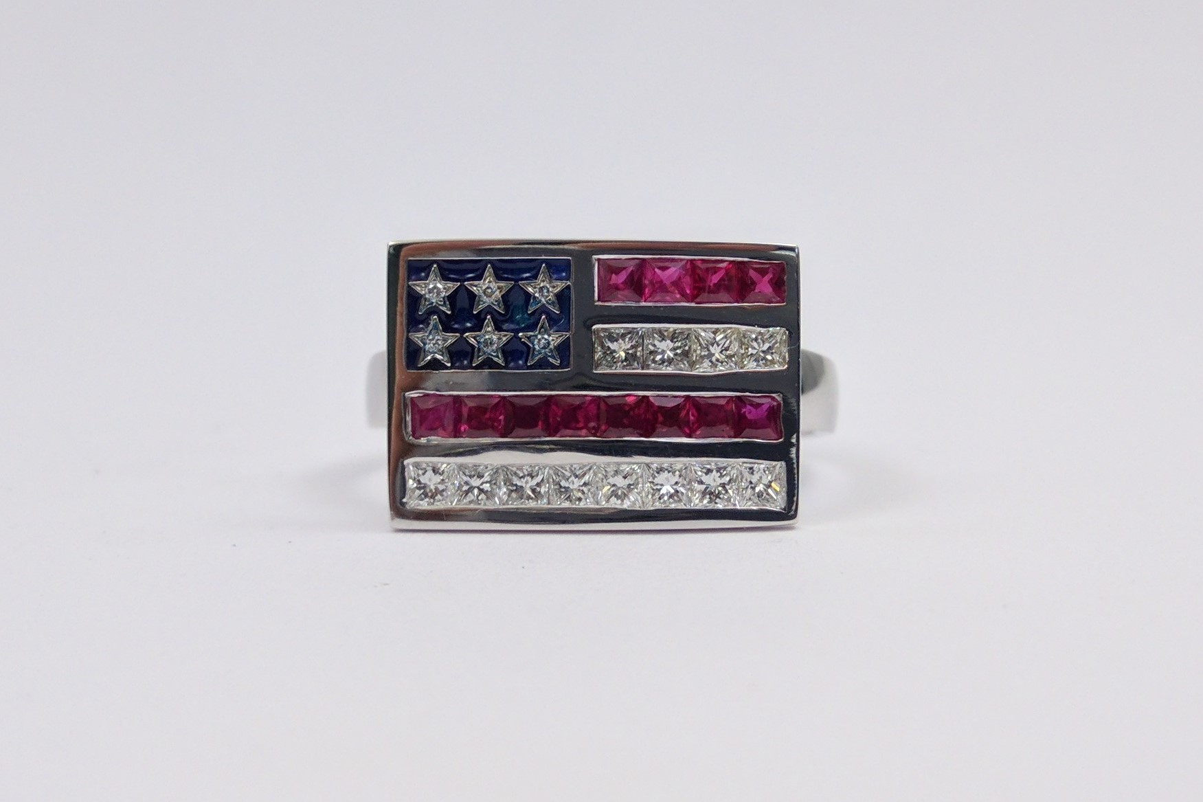 Diamond & Ruby American Flag Ring