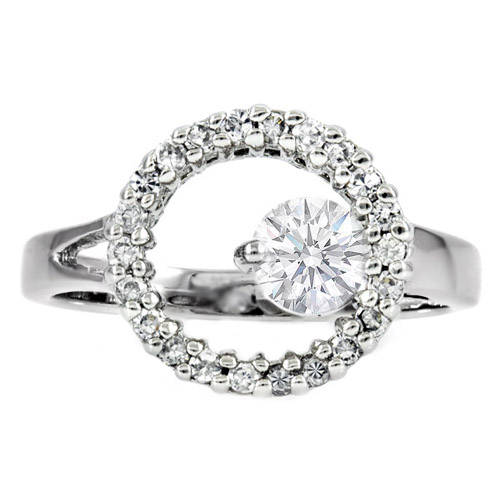 Round Diamond Halo Promise Ring 0.47 Carat tw in 14K White Gold