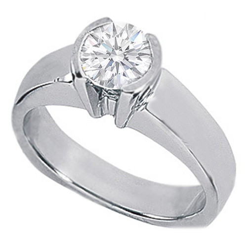 0.75 Carat Round Diamond Solitaire Bar Set Engagement Ring