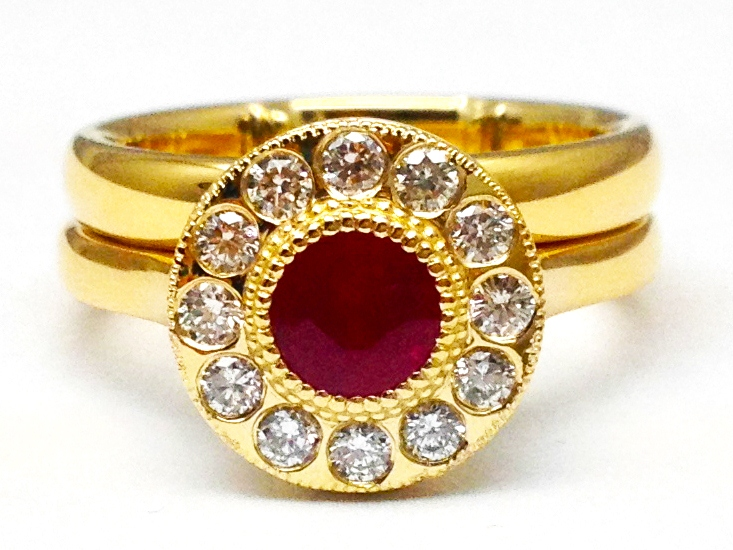 Ruby Diamond Halo Bridal Set in 14K Yellow Gold