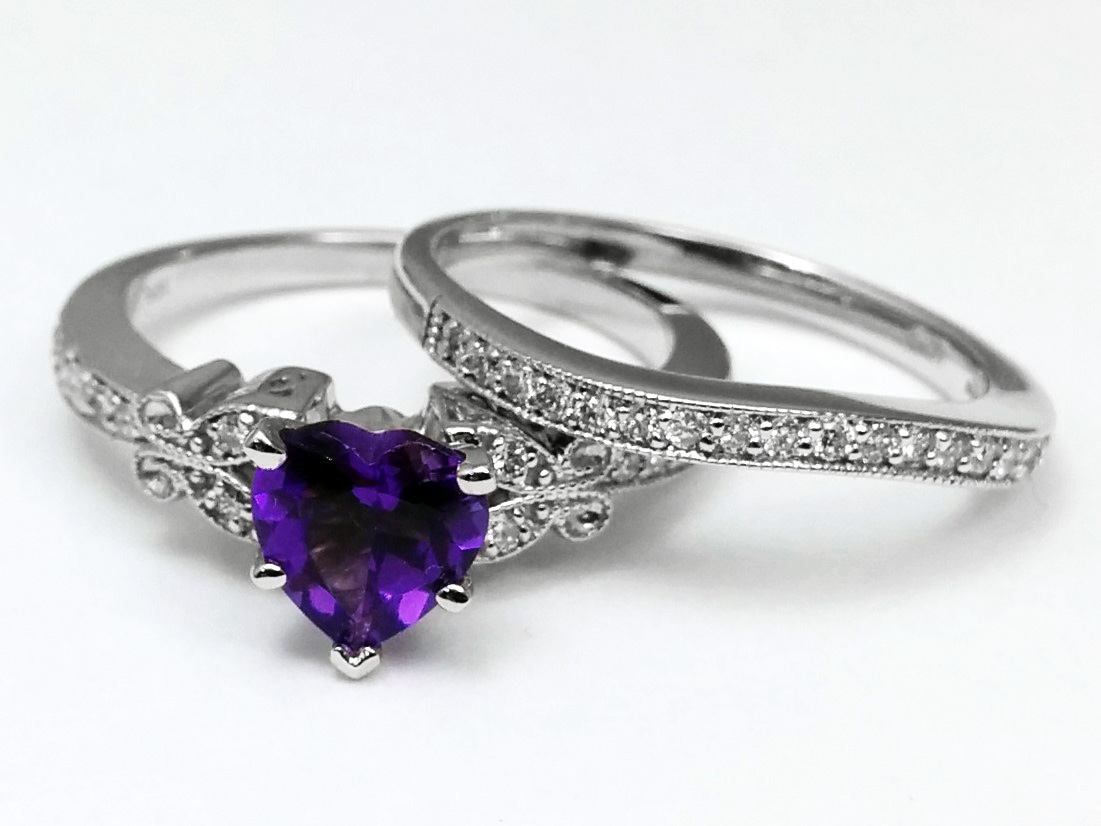 Amethyst Butterfly Vintage Engagement Ring & Matching Wedding Band