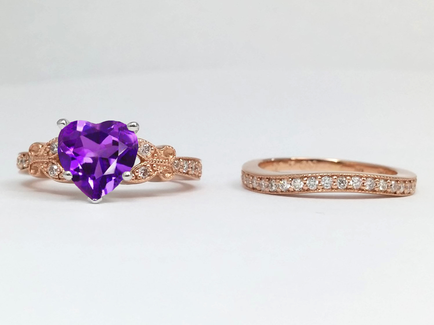 Amethyst Butterfly Vintage Engagement Ring & Matching Wedding Band, Rose Gold