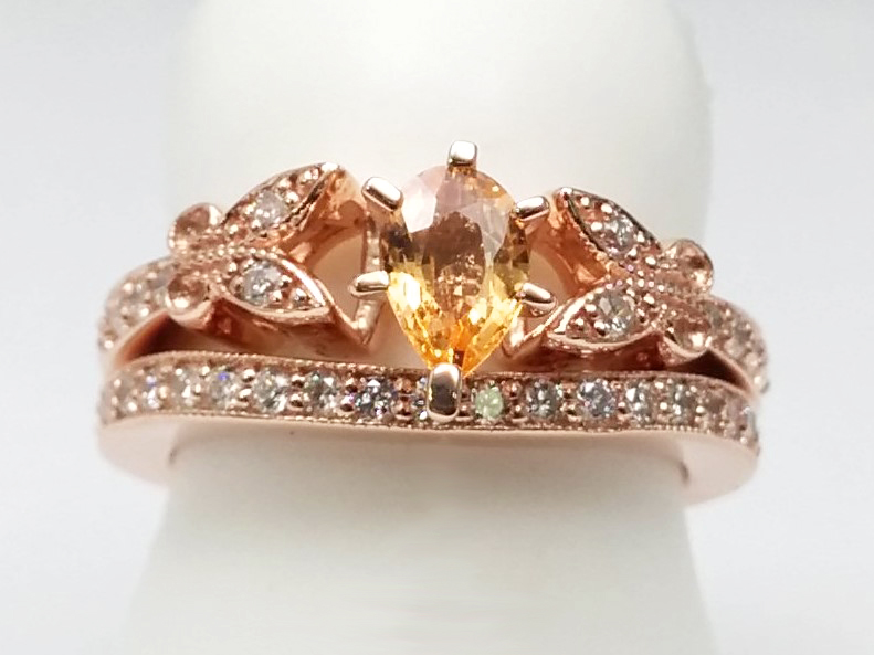 Peach Champagne Sapphire Butterfly Vintage Engagement Ring & Matching Wedding Band In Rose Gold