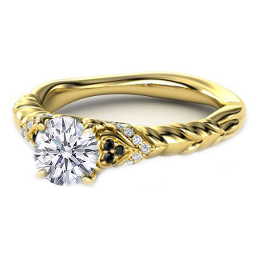 Black & White Diamond Rope Engagement Ring in 14K Yellow Gold