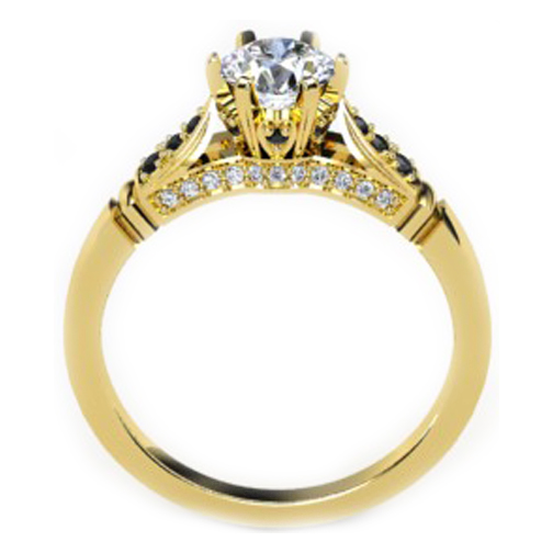 Black & White Diamond Cathedral Engagement Ring in Yellow Gold