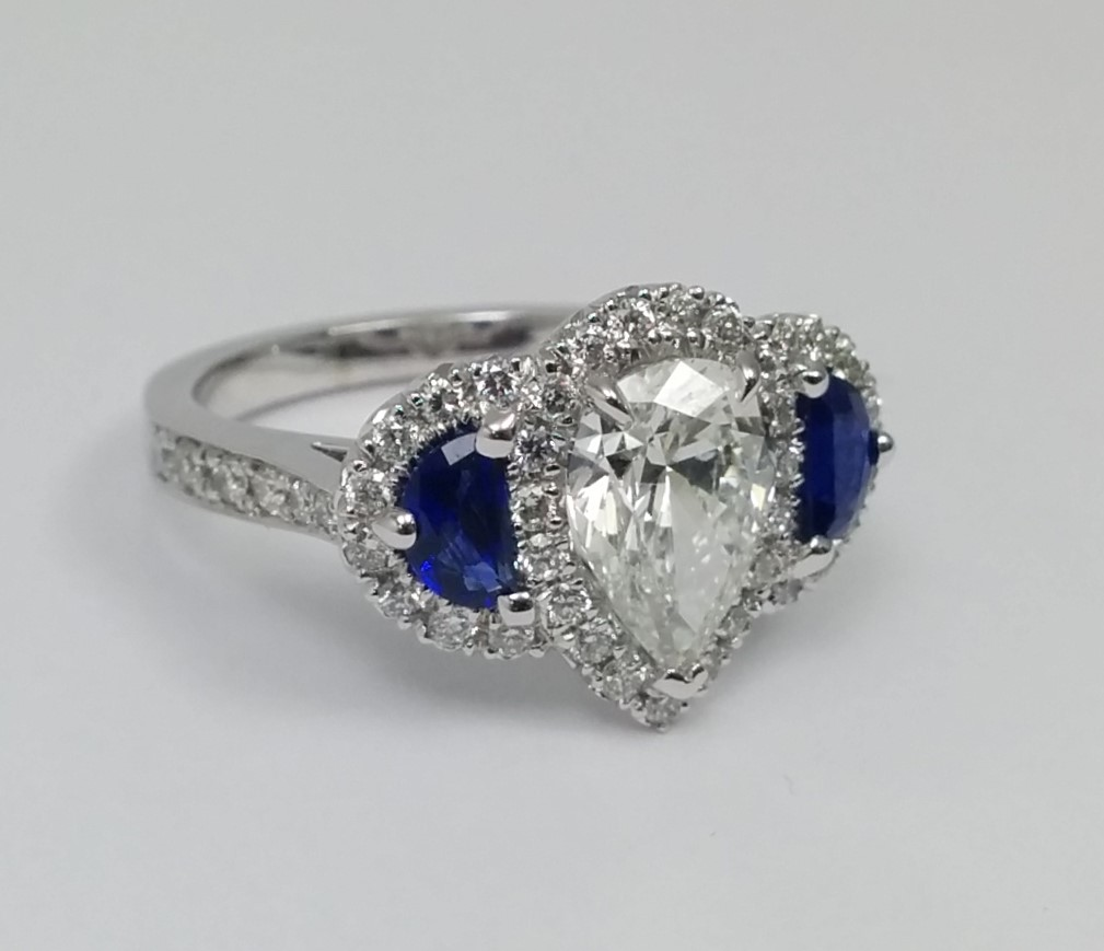 Pear Shaped Diamond Ring Half Moons Side Blue Sapphires & Pave Halo