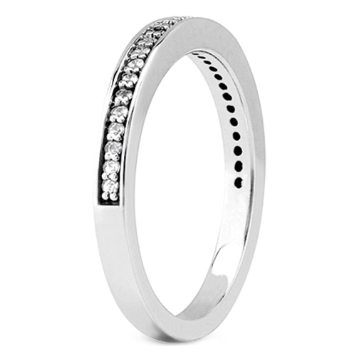 Petite Round Diamond Pave Set Wedding Band in 14K White Gold