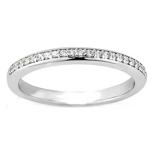 Petite Round Diamond Pave Set Wedding Band in 14 Karat White Gold